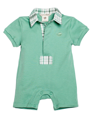 Romper with polo collar